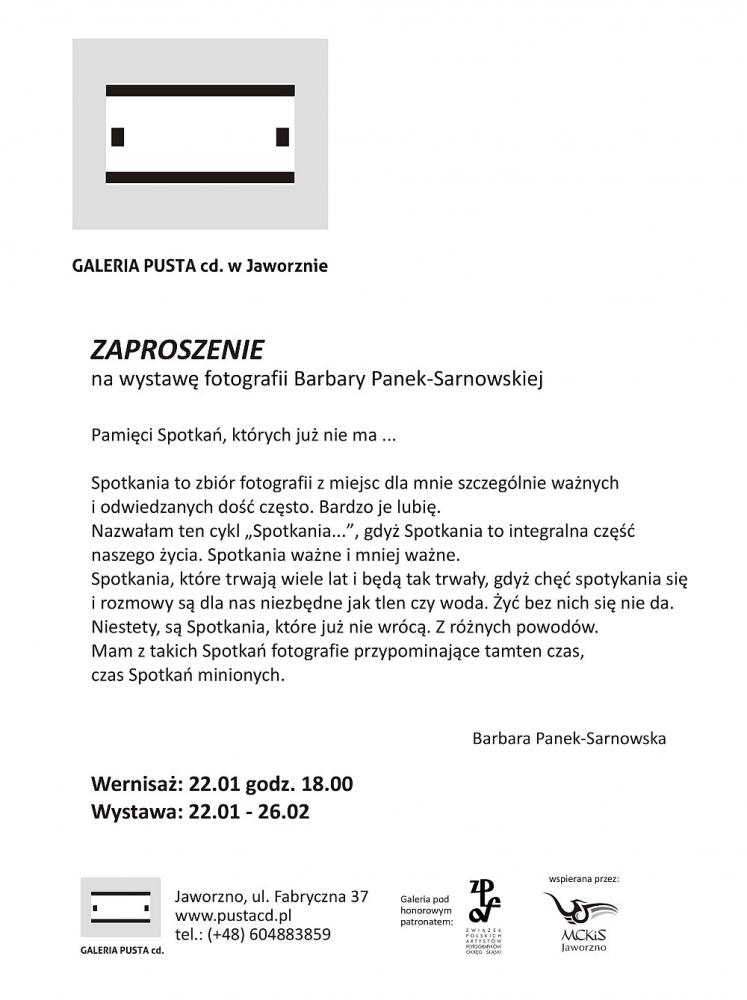 galeria-pusta-Barbara Panek-Sarnowska-zaproszenie