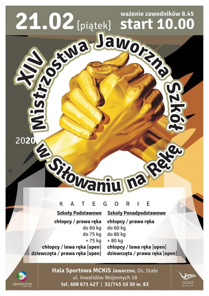 14.Mistrzostwa Szkół w Siłowaniu na Rękę_plakat